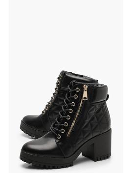 Quilted Zip And Lace Up Hiker Boots by Boohoo