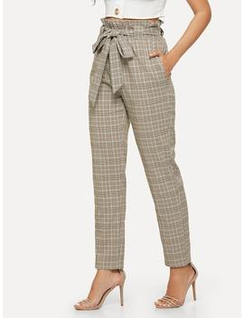 Belted Frill Waist Plaid Pants by Shein