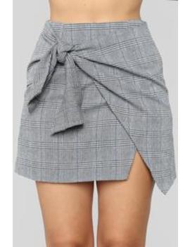 Knot Over You Plaid Skirt   Black/Blue by Fashion Nova