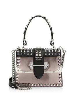 Studded Cahier Leather Top Handle Bag by Prada