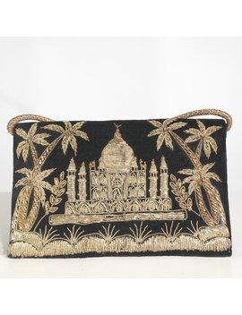 Vintage Velvet Purse With Taj Mahal Gold Embroidery. Evening Handbag. by Amoriabridle