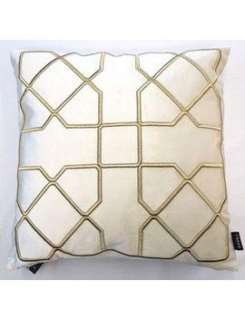 "Thick Cream Velvet Vintage Gold Geometric Pattern 18"" Cushion Cover £11.78 Each by Ebay Seller"