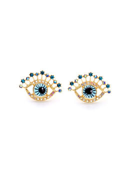 E2189 Modern Everyday Jewelry Gold Tone Navy Blue Eye Inspirational Earrings New by Unbranded