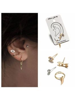 4 P Cs/Set Bohemian Punk Unique Arrow Earrings Jewelry Crystal Eye Stud Ear Clip by Unbranded