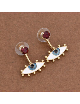 Women Enamel Earrings Eye Shaped Metal Studs Fashion Cute Style Jewelry Decor by Unbranded