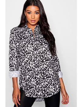 Mono Leopard Print Oversized Shirt by Boohoo