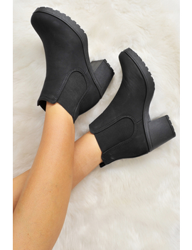 Black Pu Heeled Ankle Boots   Athina by Rebellious Fashion