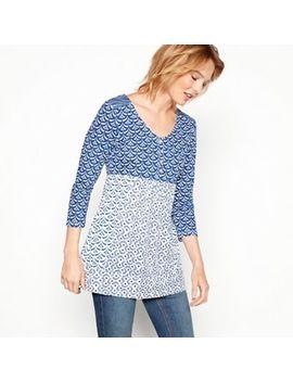 Mantaray   Blue Shell Tile Print Cotton&Nbsp;V Neck Long Sleeve&Nbsp;Top by Mantaray