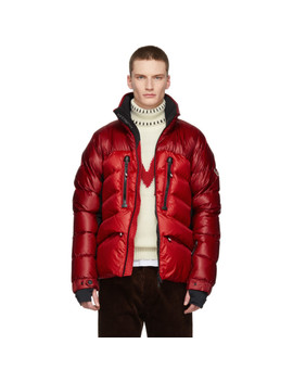 Red Down Braies Jacket by Moncler Grenoble