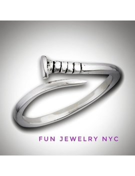 Nailed It! Cute Sterling Silver Nail Ring, 925 Ring, Nail, Tool Ring, Silver Ring, Punk Ring, Tiny Ring, Stacking Wrap Around Ring, Gift by Funjewelrynyc