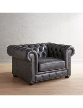 Charcoal Genuine Leather Chesterfield Chair by Southerlyn Collection