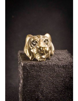 Vintage Tiger Head Ring /  Animal Ring /Totem Ring / Animal Jewelry / Pagan Jewelry by Chainmaille My Hearts
