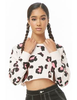 Leopard Print Cropped Sweatshirt by Forever 21