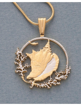 "Conch Shell Pendant, Hand Cut Bahamas Conch Shell Coin, 1 1/8"" Wide ( # 19 B ) by ""Handmade"""