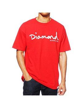 Diamond Supply Co. Og Script Red White Off White Print S/S Men's T Shirt by Diamond Supply Co