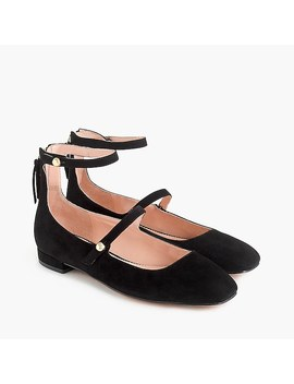 Poppy Two Strap Ballet Flats In Suede by J.Crew