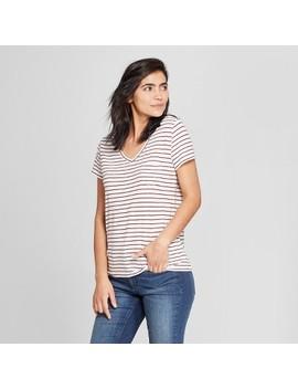 Women's Striped Monterey Pocket V Neck Short Sleeve T Shirt   Universal Thread™ White Stripe by Universal Thread™