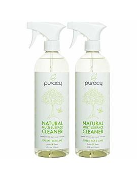 Puracy Natural All Purpose Cleaner, Best Household Multi Surface Spray, Streak Free On Glass And Stainless Steel, Child And Pet Safe, Green Tea And Lime, 25 Ounce Bottle, (Pack Of 2) by Puracy