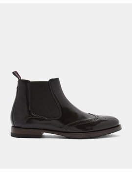 Wing Cap Leather Brogue Chelsea Boots by Ted Baker