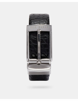 Croc Embossed Reversible Leather Belt by Ted Baker