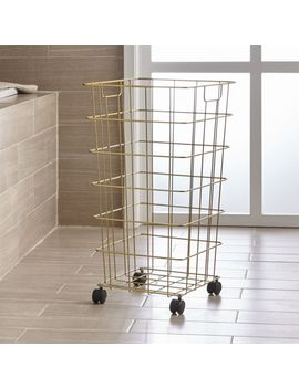 Brass Wire Hamper With Wheels by Crate&Barrel