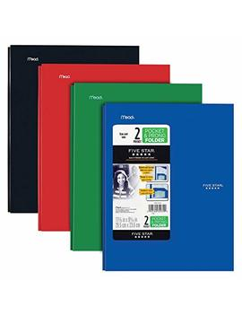 Five Star 2 Pocket Folders With Prong Fasteners, Stay Put Folder, Folders With Pockets, Assorted Colors, 4 Pack (38064) by Five Star