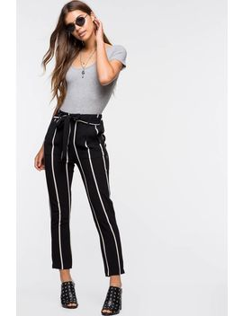 Two Tone Stripe Tie Front Trouser Pant by A'gaci