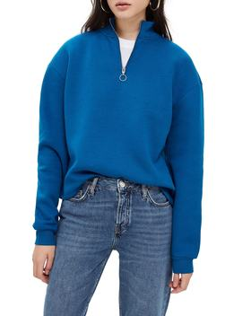 Zip Funnel Neck Sweatshirt by Topshop