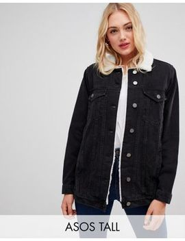 Asos Design Tall Denim Jacket With Fleece Collar In Washed Black by Asos Design