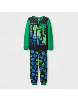 Boys' Minecraft 2pc Pajama Set   Black/Green by Minecraft