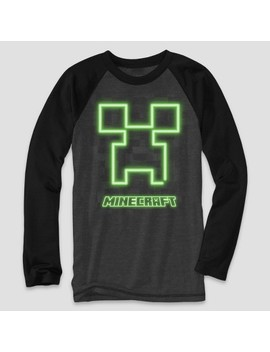 Boys' Minecraft Creeper Long Sleeve Graphic T Shirt   Charcoal Heather/Black by Minecraft