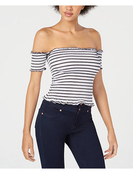 Juniors' Smocked Off The Shoulder Crop Top by Almost Famous