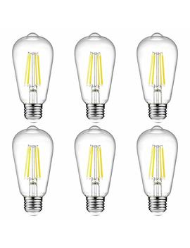 Ascher Vintage Led Edison Bulbs, 6 W, Equivalent 60 W, 800lm, Daylight White 4000 K, St58 Antique Led Filament Bulbs, E26 Medium Base, Non Dimmable, Clear Glass, Pack Of 6 by Ascher