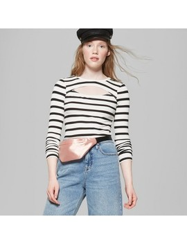 Women's Long Sleeve Rib Top With Chest Cut Out   Wild Fable™ White/Black by Wild Fable™