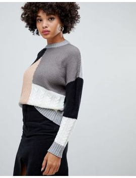 Missguided Color Block Sweater In Multi by Missguided