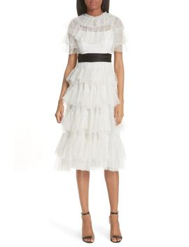 Tiered Tea Length Tulle Dress by Needle & Thread