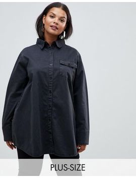 Pretty Little Thing Plus Washed Denim Oversized Shirt In Black by Pretty Little Thing