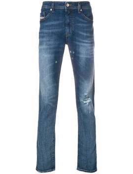Distressed Fitted Jeans by Diesel