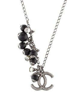 Faux Pearl & Bead Cc Pendant Necklace by Chanel