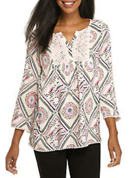 3/4 Sleeve Mixed Print Peasant Top by Crown & Ivy™