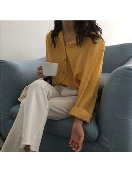 Serendipitous   Long Sleeve Plain Blouse by Serendipitous