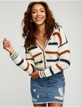 Striped Cropped Cardigan by Charlotte Russe