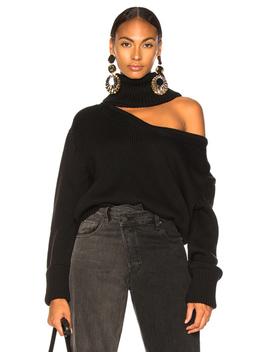 Drop Shoulder V Neck Turtleneck Sweater by Monse