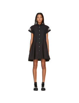 Black Short Sleeve Shirt Dress by Sacai