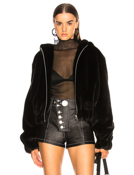 Hooded Faux Mink Bomber Jacket by Helmut Lang