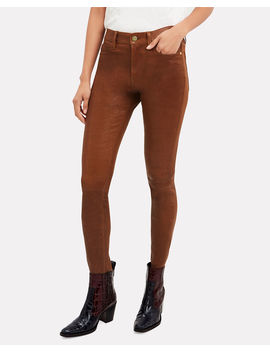 Cognac Skinny Leather Pants by Frame