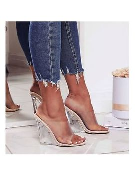 Cape Robbin Lemonade Transparent Clear Nude Foot Bed Lucite Wedge Heel Mule by Cape Robbin