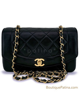 Chanel Vintage Black Small Classic Diana Flap Bag 24k Ghw 63002 by Chanel