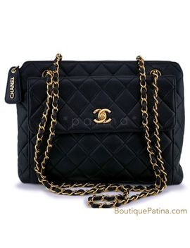 Chanel Vintage Black Caviar Flap Tote Bag 24k Ghw 62995 by Chanel
