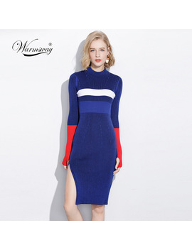 Warm And Charm Women Dresses Fall Winter Long Sexy Bodycon Split Dress Elastic Striped Knitted Sweater With Thumb Hole C 066 by Warmsway